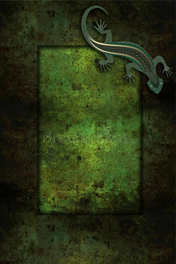 Frame with patterned lizard stock illustration