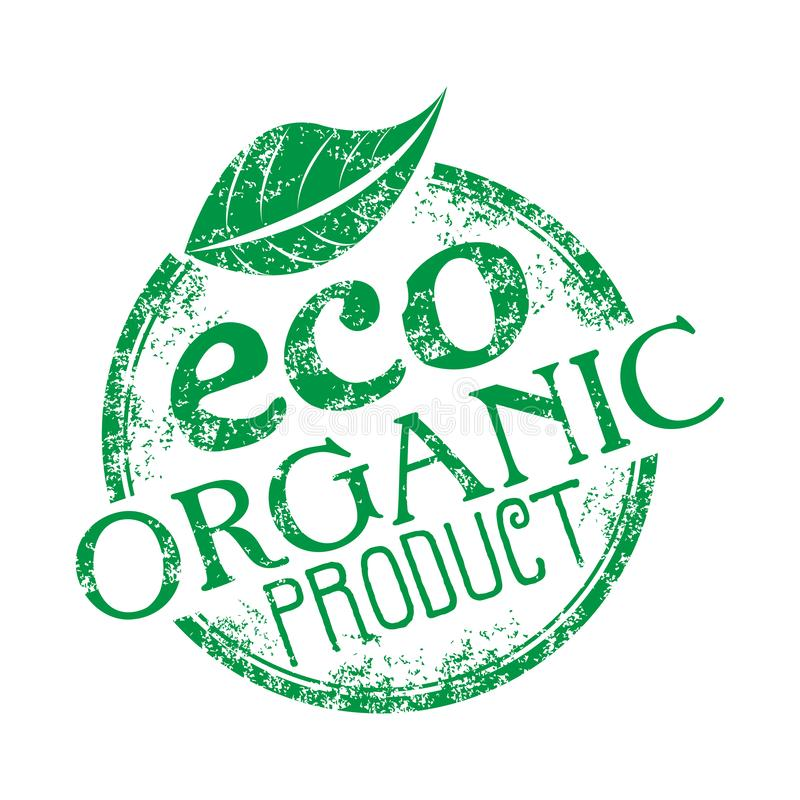 Eco organic product rubber stamp stock image