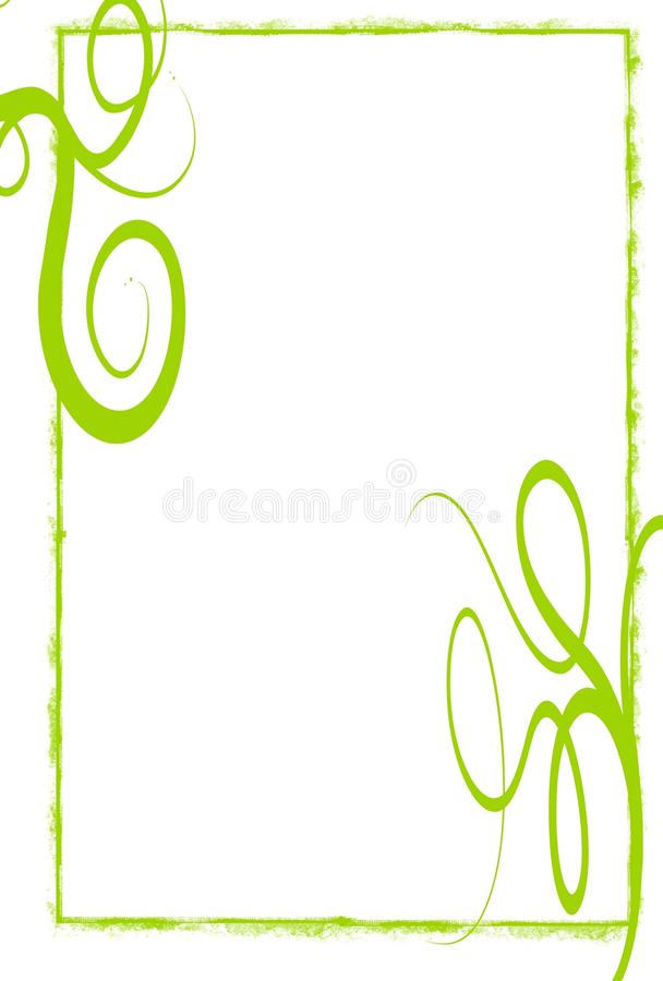 Green grunge swirls frame. A white background with a light green grunge frame and big swirls stock illustration