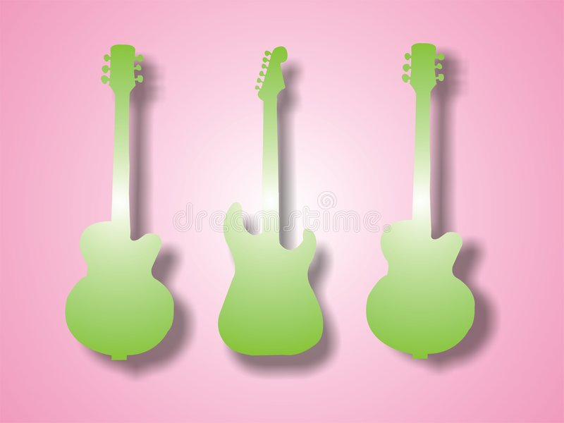 Green guitar shapes vector illustration