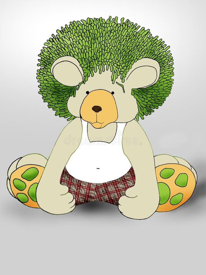 Green hair Teddybear royalty free stock photos