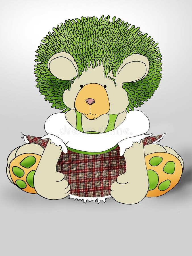 Green hair Teddybear stock photo