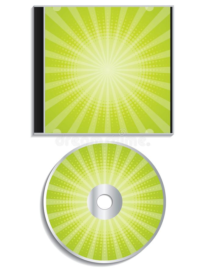 Green halftone cd and cover design stock illustration