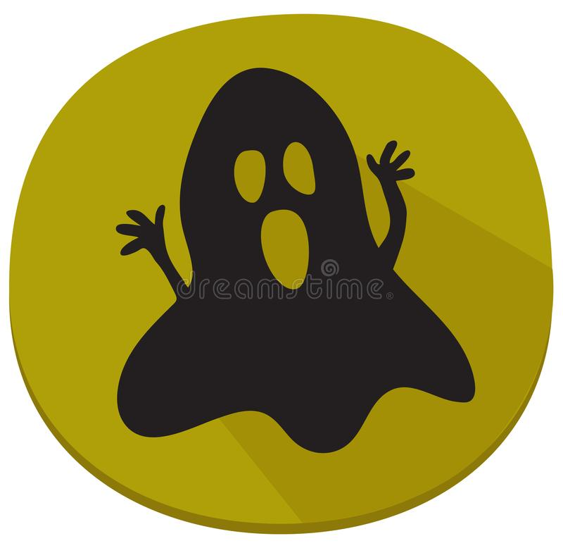 Halloween sticker with spooky ghost vector illustration