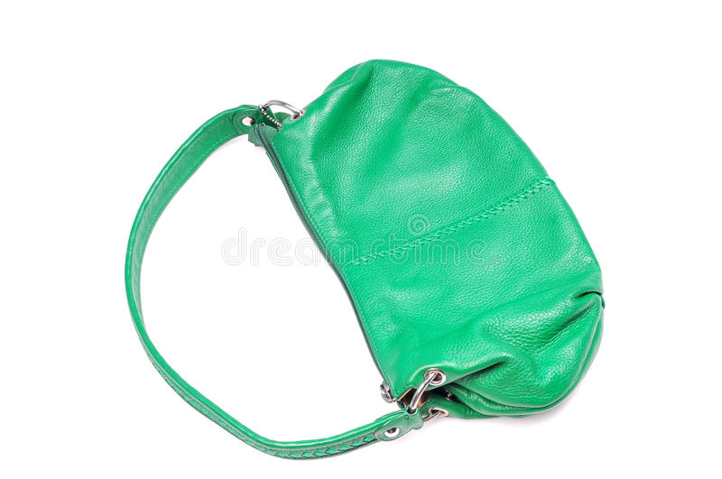 Green hand bag. Female green hand bag isolated on white background stock photos