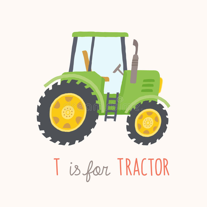 Up The Tractor Green Tractor With Bucket Cartoon : Green hand drawn tractor stock vector illustration of