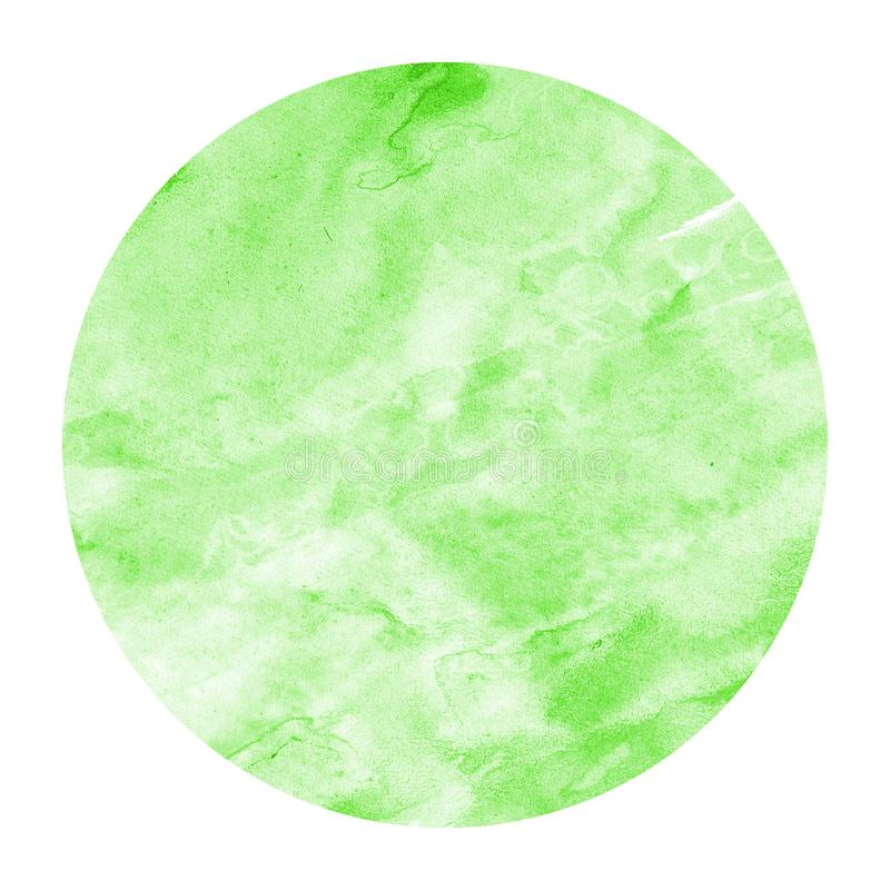 Green hand drawn watercolor circular frame background texture with stains. Modern design element royalty free stock photography