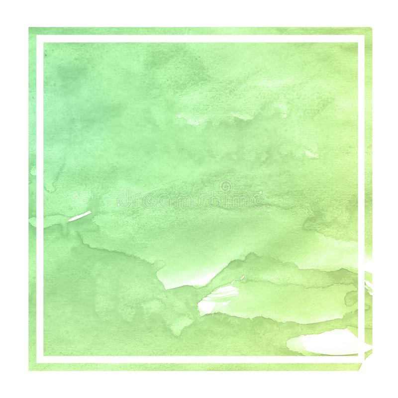 Green hand drawn watercolor rectangular frame background texture with stains. Modern design element stock photography