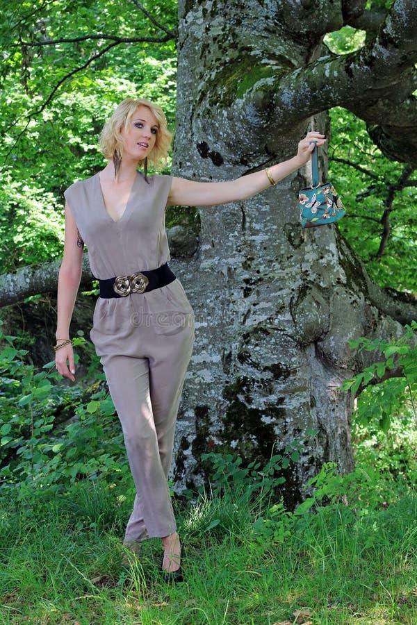 The green handbag royalty free stock image