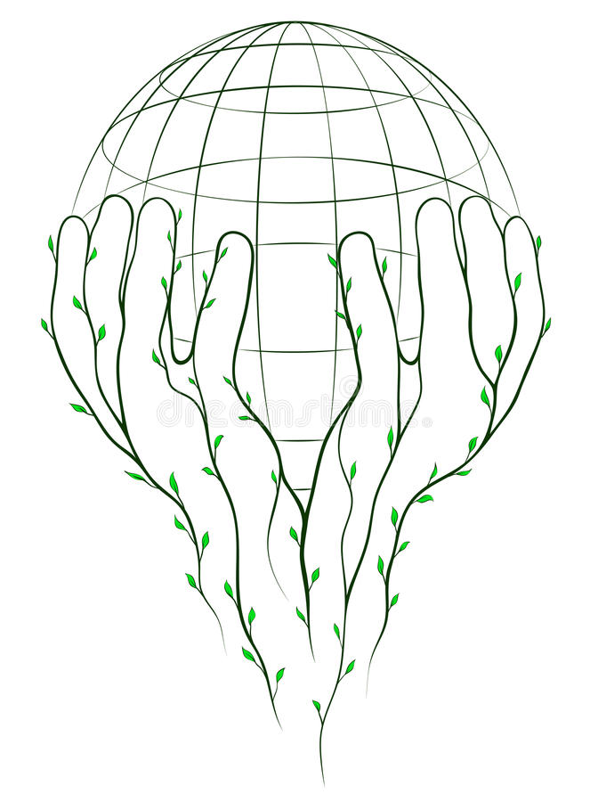 Download Green hands and globe stock vector. Image of peace, grow - 22054532