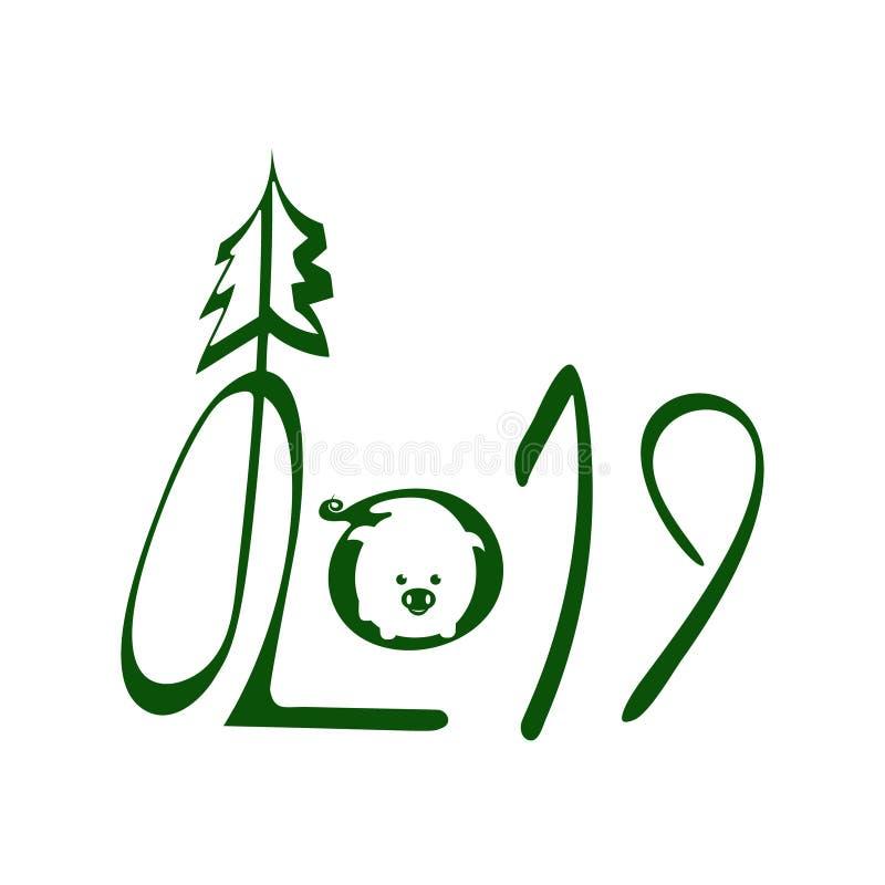 2019. Green Handwritten Lettering With Pig Negative Logo vector illustration