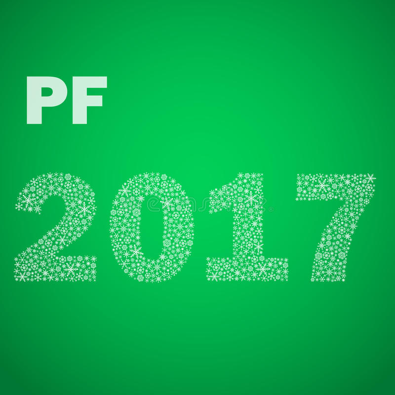 Green happy new year pf 2017 from little snowflakes eps10 stock illustration