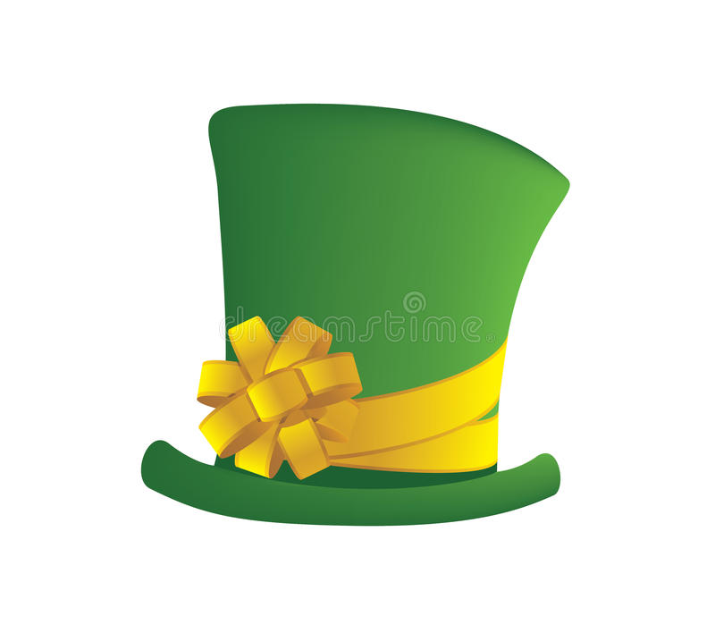 Green hat. Deep green hat with bow stock illustration