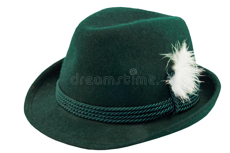 Green hat with a feather royalty free stock image