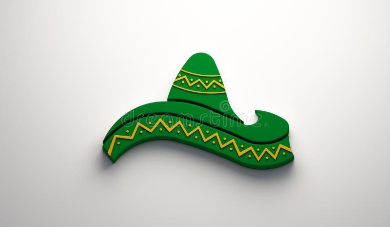 Mexican Hat- Cinco de Mayo Celebration. 3D Render Illustration. Green Hat in White Background Illustration vector illustration