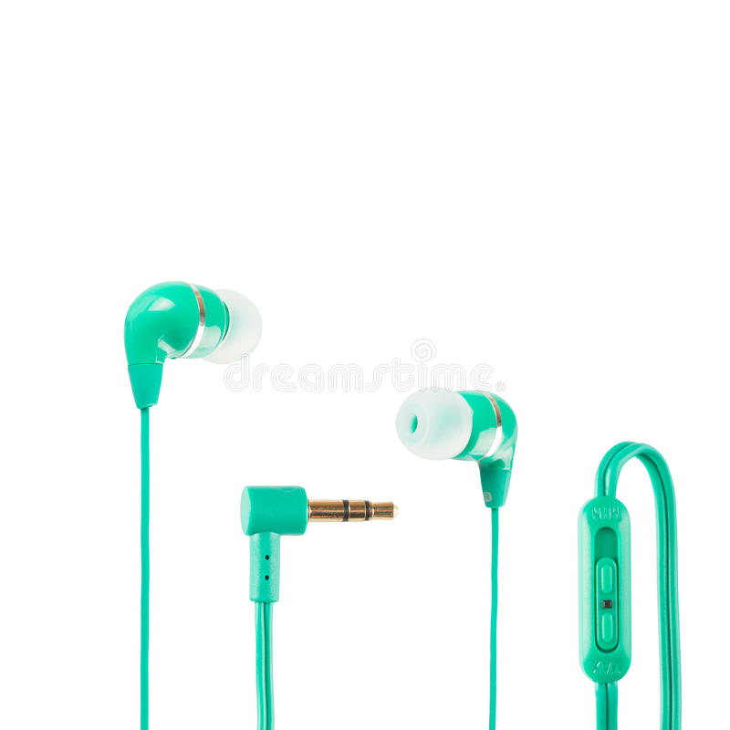 Green Headphones stock photography