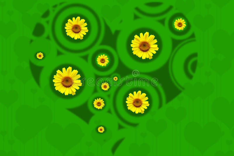 Green heart. Background with bright wild yellow flowers royalty free illustration