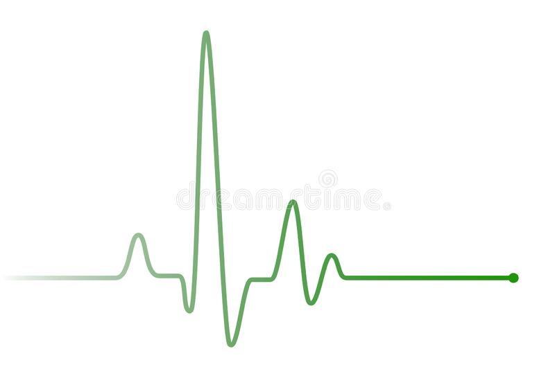 Green heart beat pulse graphic line on white royalty free illustration