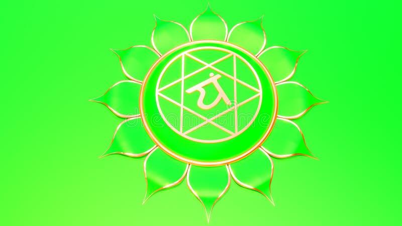 Green Heart chakra Anahata symbol concept of Hinduism, Buddhism, Ayurveda. love healing. 3d rendering stock illustration