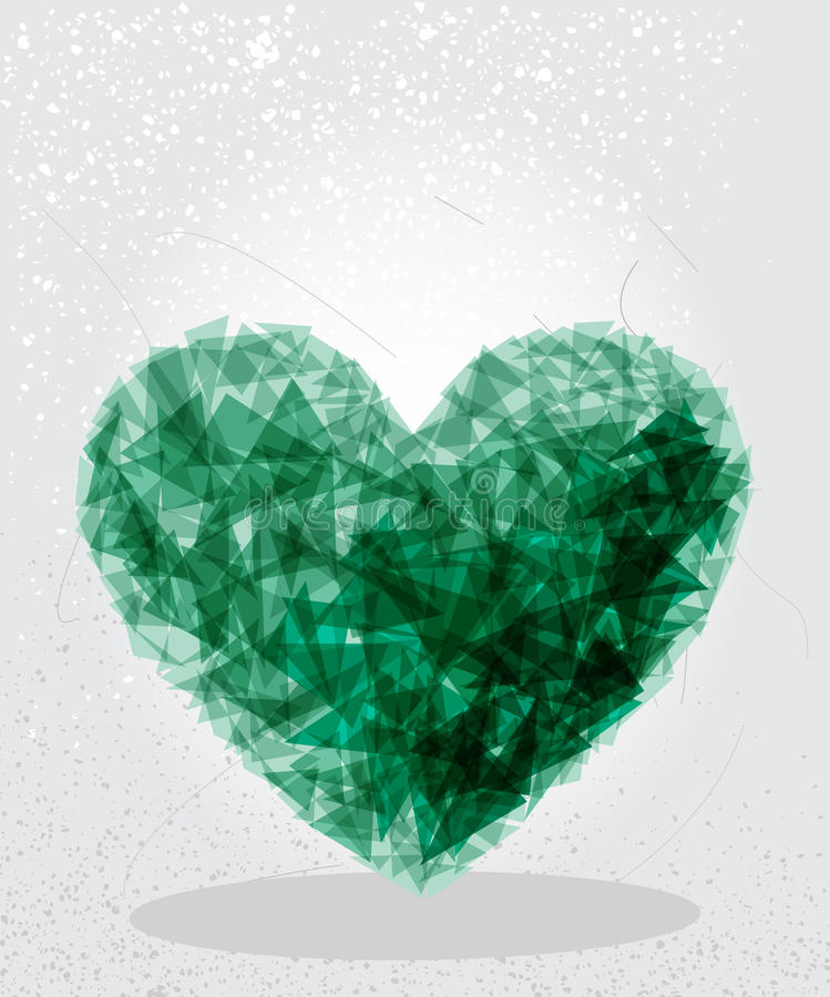 Green heart geometric shape. Modern green heart shape transparent elements grunge background. EPS10 vector with transparency organized in layers for easy stock illustration
