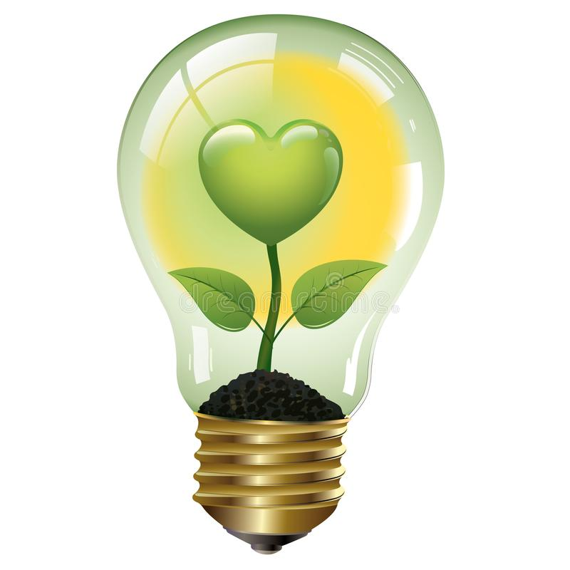 Green heart for a good energy - Ecological concept - Logo. Green energies. Light bulb with green elements royalty free illustration