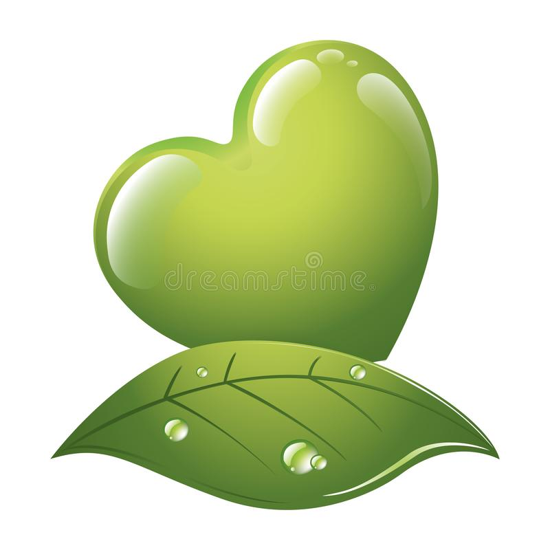 Green heart for a good energy - Ecological concept - Logo. Green energies. Light bulb with green elements vector illustration