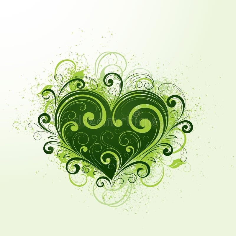 Green heart illustration stock photo