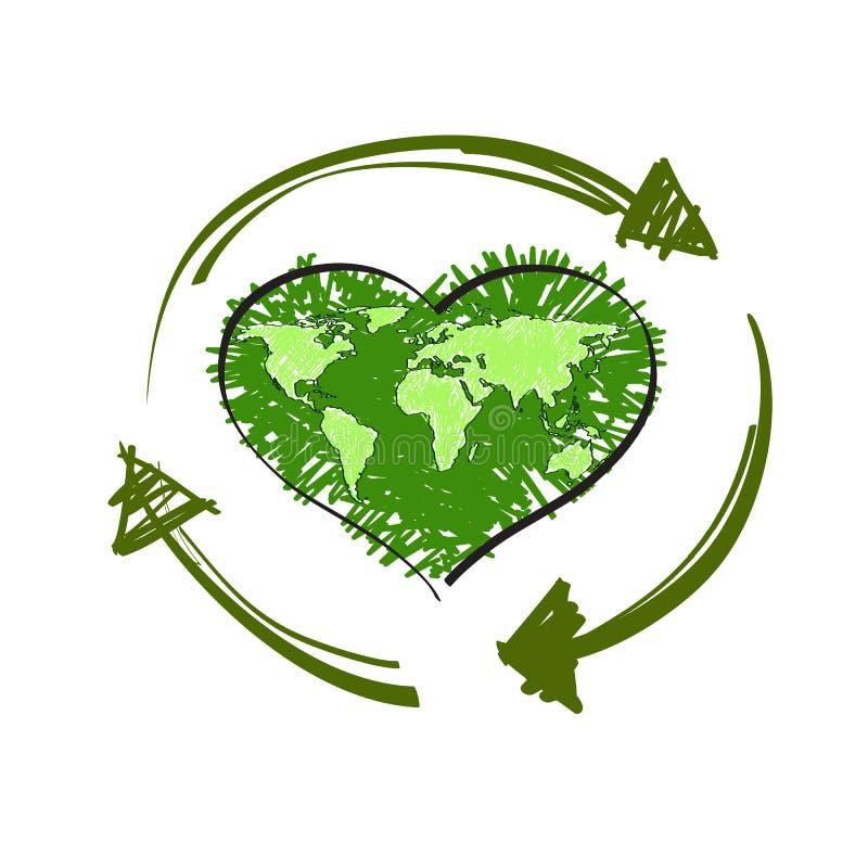 Green heart. royalty free illustration