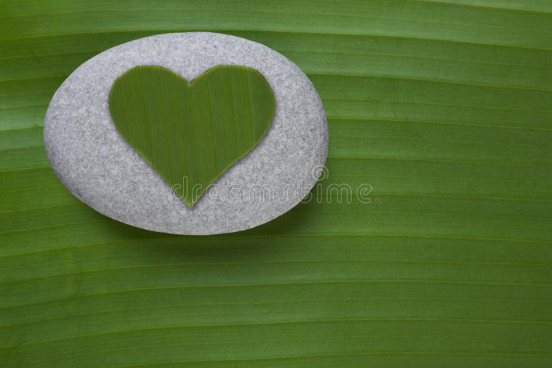 Green Heart On Pebble Stock Photos