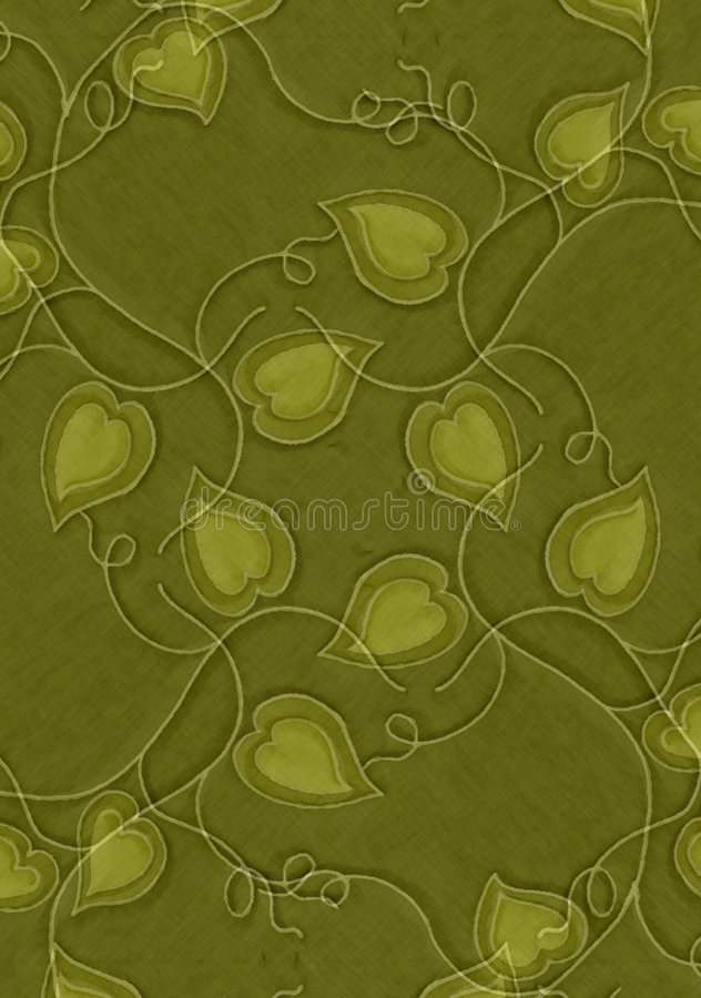 Green Hearts and Vines Texture royalty free illustration