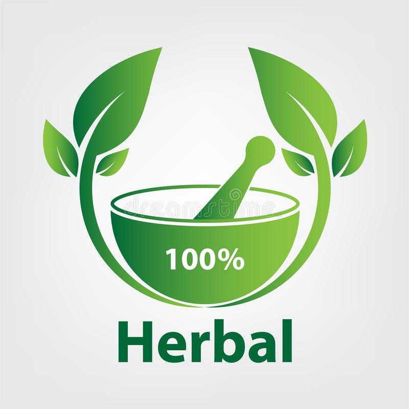 Green herbal logo template,herbal 100 on white background. Leaf, natural, element, organic, vector, design, icon, concept, health, symbol, eco, nature stock illustration