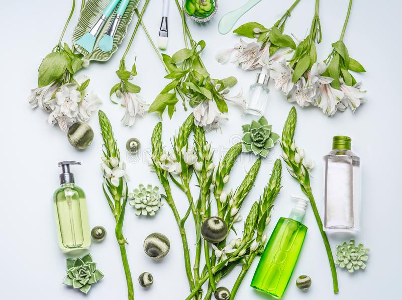 Green herbal natural cosmetic setting with bottles of facial toner, hydrophobic oil, cleansing foam, herbs and flowers on white. Background , top view, flat lay royalty free stock photography