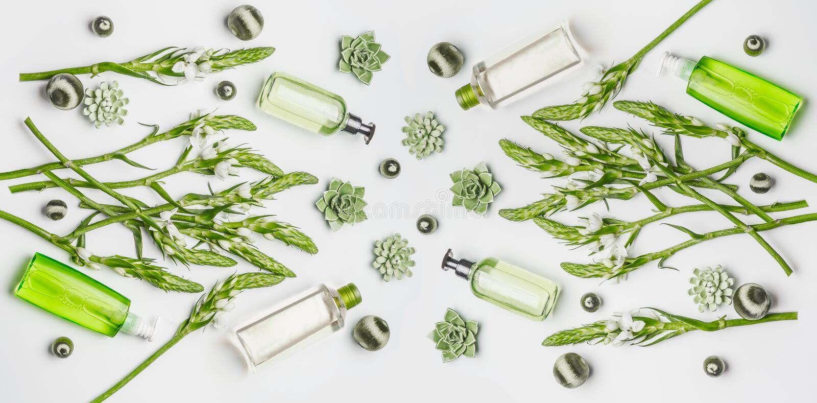 Green herbal vegan natural cosmetic setting with bottles of skin care products with branding copy space, herbs and flowers stock photography