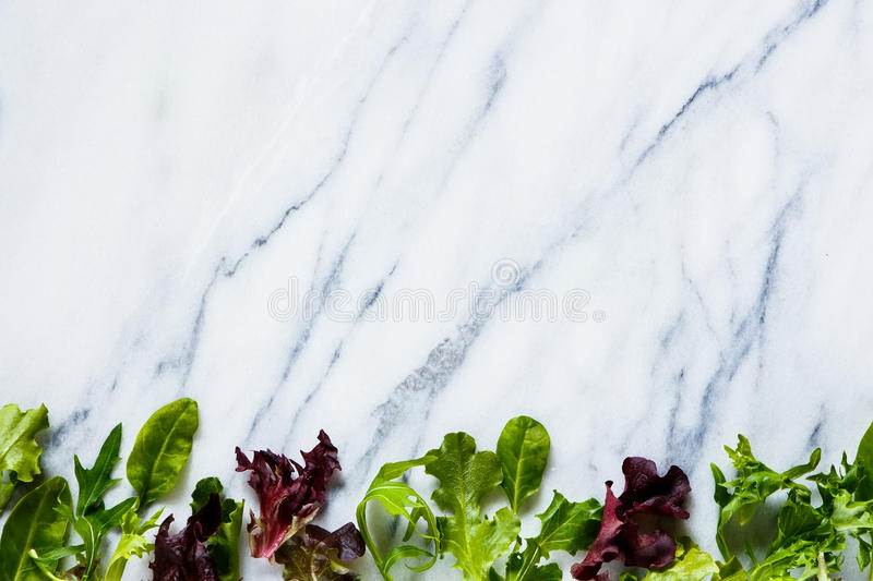 Green herbs salad. Fresh green herbs salad on marble texture. Background layout with free text space. Vegetarian food, health or cooking concept. Top view stock images