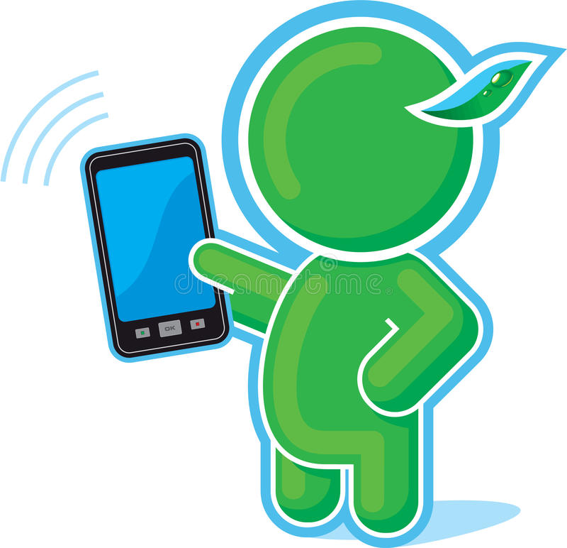 Green Hero with Cell Phone, Mobile, Touch Pad. Green Hero with Cell Phone, Mobile, Communicator or Touch Pad Including Vector Format royalty free illustration