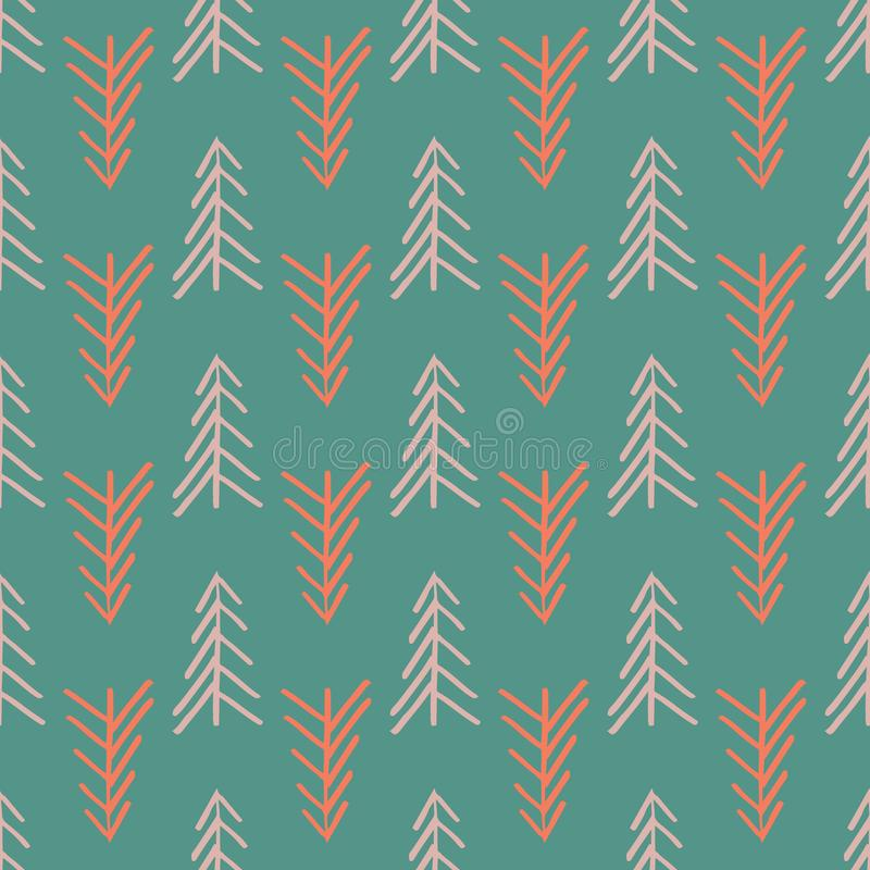 Green herringbone tree seamless repeat pattern vector illustration