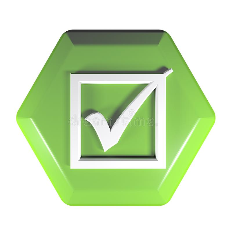 Green hexagonal push button with icon of a checked box - 3D rendering illustration vector illustration