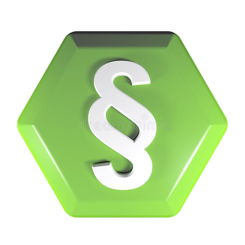 Green hexagonal push button with paragraph sign - 3D rendering illustration vector illustration
