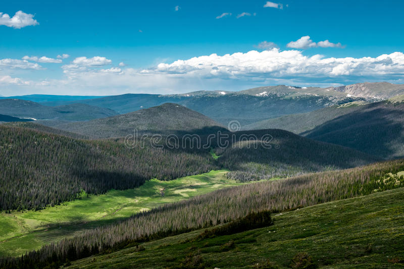 Green highland valley. Panorama of the Rocky Mountains, Colorado, USA. Wild primeval nature of the Rocky Mountains in Colorado, USA. Ecological nature reserve royalty free stock image