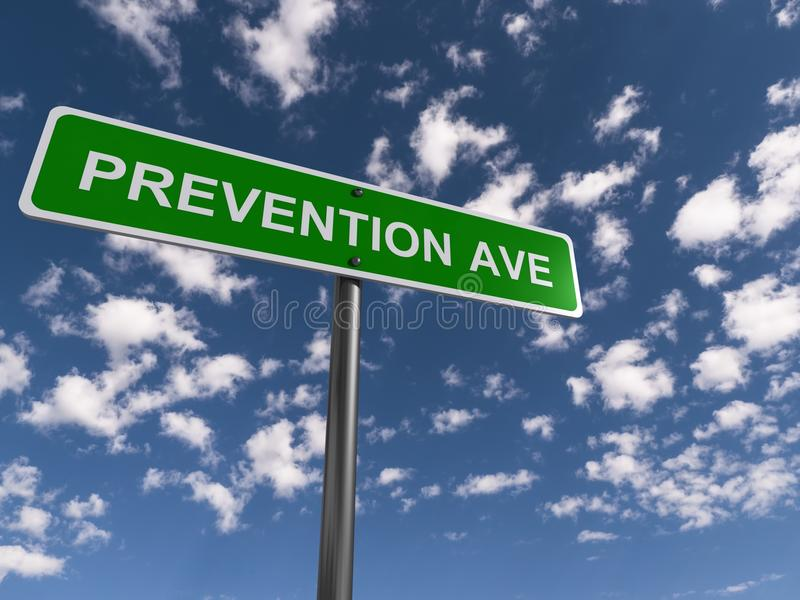 Prevention avenue. Green highway style signpost with text 'prevention avenue' in white uppercase letters, background of blue sky and clouds royalty free stock images