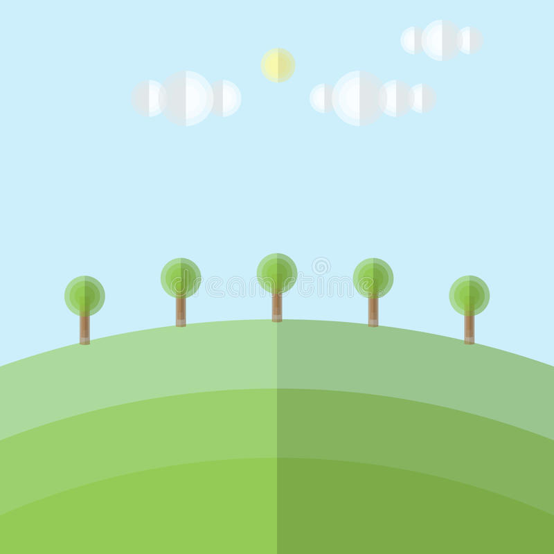 Green hill cloud sun tree landscape with circle and layer style stock illustration