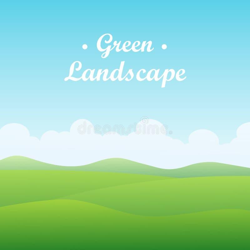 Green hill landscape on sunny day. Vector illustration stock illustration