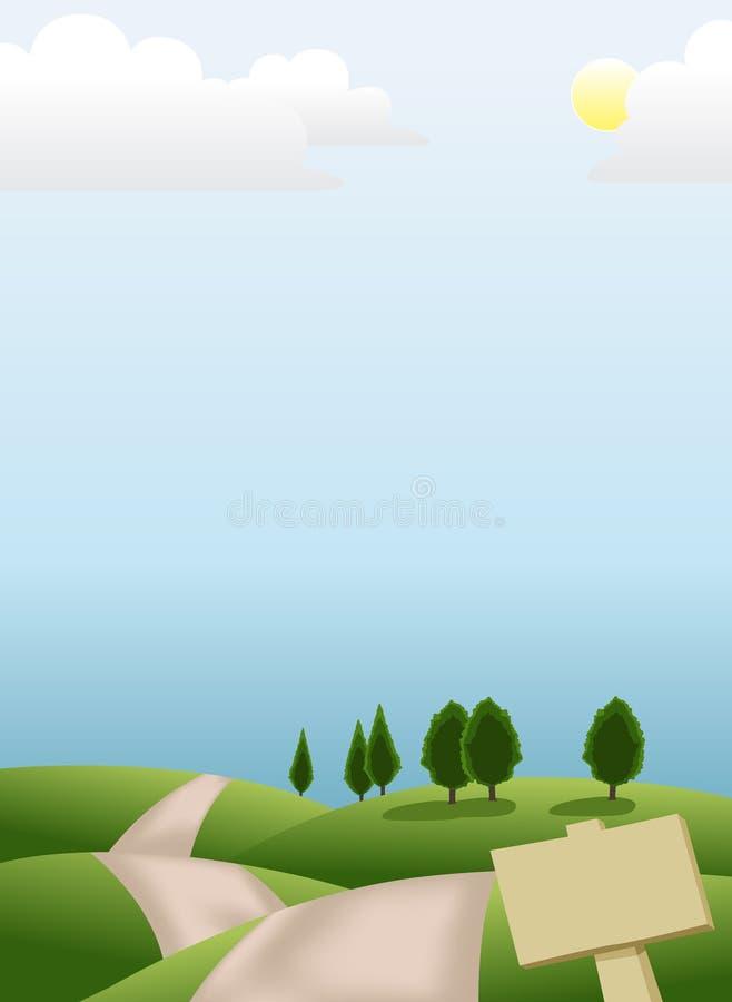Green hill scenery vector illustration