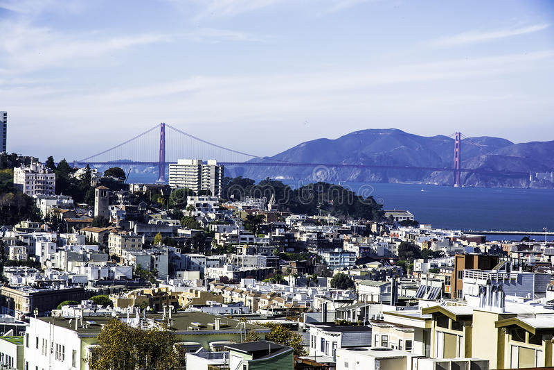San Francisco, North Beach & Golden Gate Bridge. As seen from Coit Tower (Telegraph Hill) California-Central-Coast royalty free stock photography