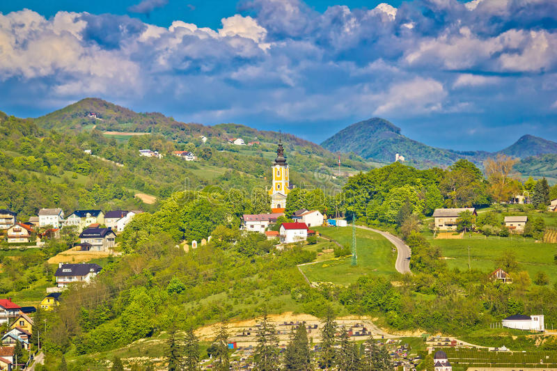 Green hills and churches of Zagorje. Croatia stock photography