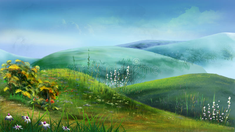Green Hills Full of Grass and Flowers royalty free illustration