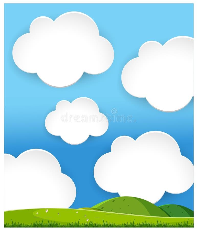 Green hills Landscape Cloudy Day. Illustration vector illustration