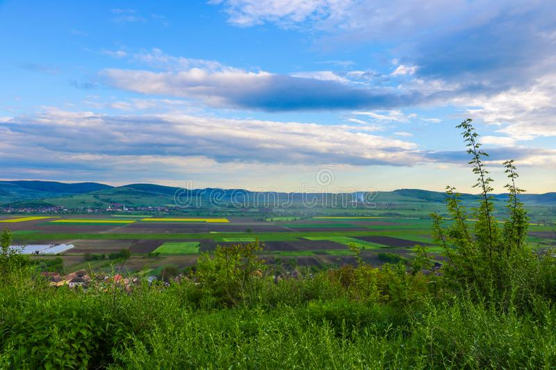 Green hills in mountain valley. Summer landscape.  stock photo