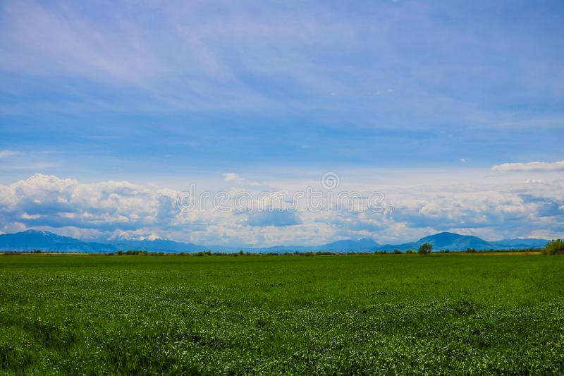 Green hills in mountain valley. Summer landscape.  stock images