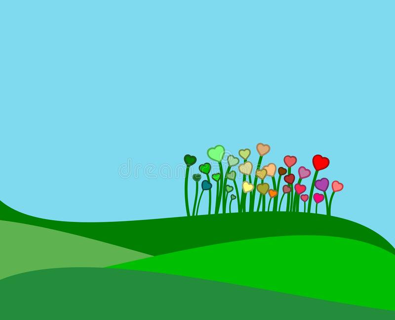 Green hills with some colorful flowers royalty free stock photos